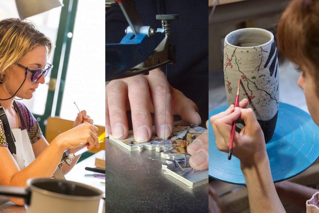 Atelier Vertige : création de bijoux · Atelier le Colimaçon : création de puzzle en bois · Atelier Méli-Melo de Terre : poterie