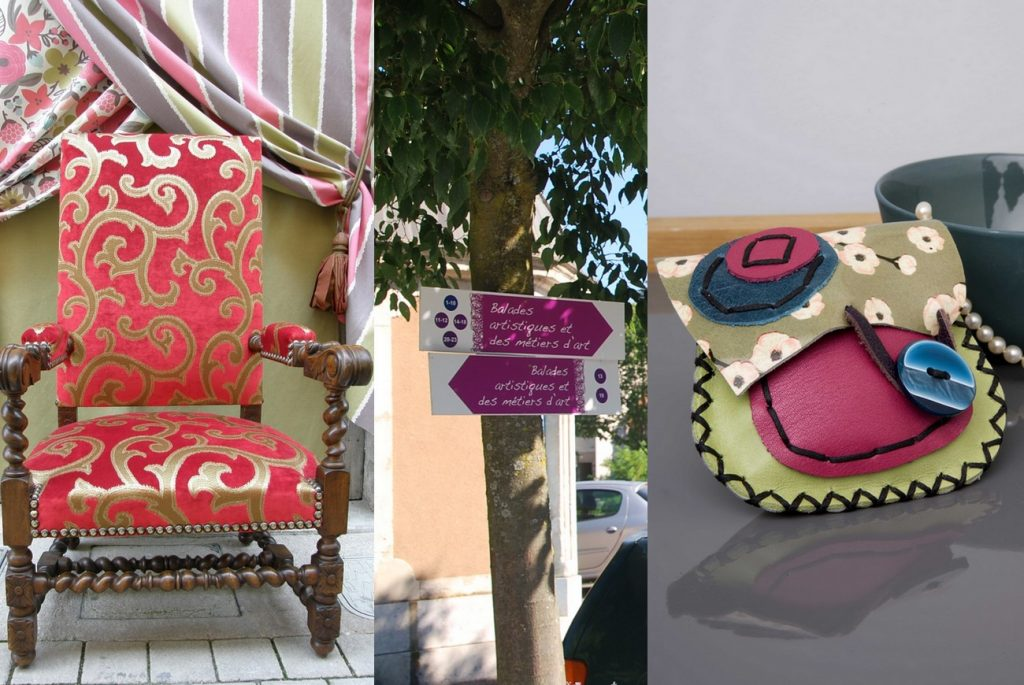 Fauteuil de l'Atelier Sartre · Signalisation estivale des ateliers et des galeries d'art (en lien avec la brochure Balades artistiques et des métiers d'art) · Création en cuir de Crea-Noy
