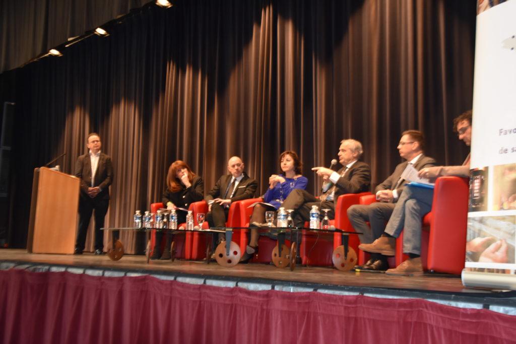 De g. à dr. : Christophe Poissonnier, Marie-Hélène Frémont, Michel-François Delannoy, Carole Delga, Rollon Mouchel-Blaisot, Jacques Garau et Daniel Pelegrin
