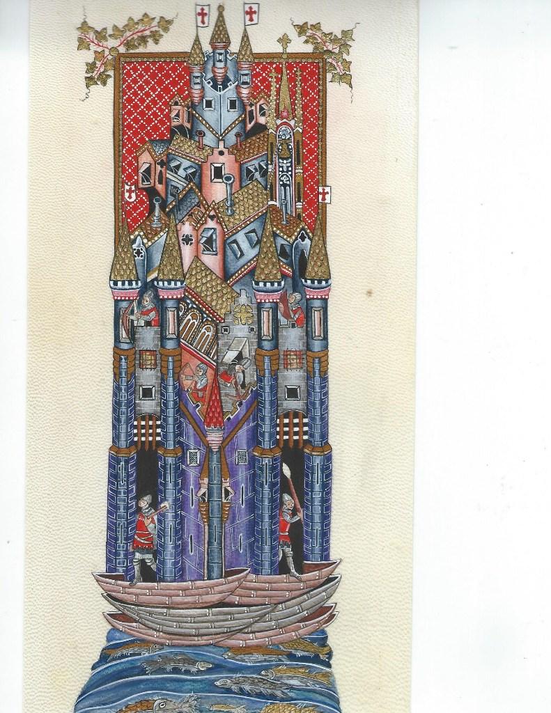Reproduction par Anastasia · Le siège de Tyr dans La Romance d'Alexandre XIVe siècle ∼ Bodleian Library (Oxford University)
