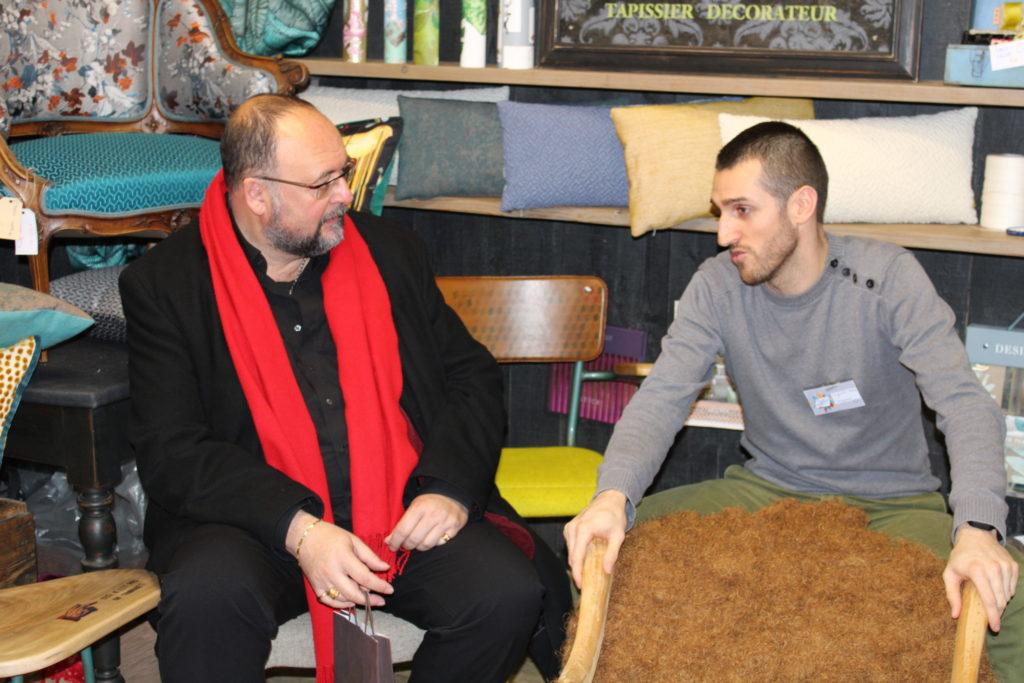 Benjamin Jouenne (à droite) et Thierry Deslot (Directeur adjoint au développement économique délégué aux métiers d'art ) · PEM&B