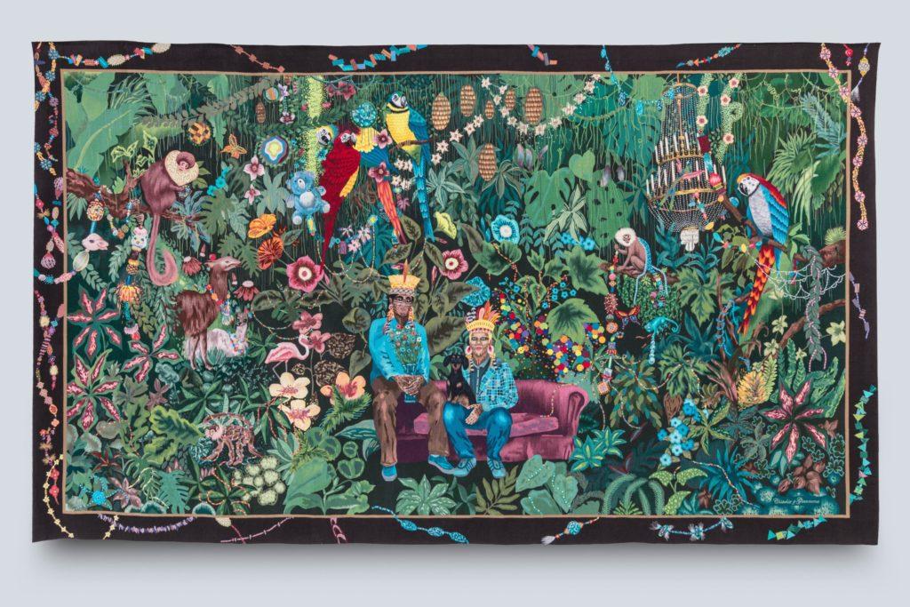 La Famille dans la joyeuse verdure · Léo Chiachio ( né en 1969 ) et Daniel Giannone ( né en 1964 ) · Tapisserie de basse lisse, laine et soie (détail) · Collection de la Cité internationale de la tapisserie Chiachio/Giannone 2020 · Cité internationale de la tapisserie - droits réservés.